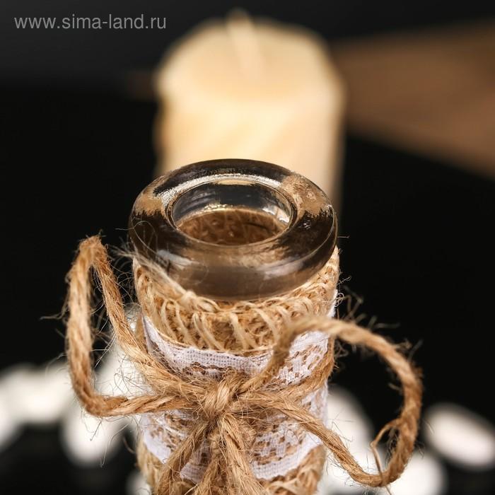 """Бутылка для аромамасел/декора стекло """"Лист, кружево и мешковина"""" проз. 200мл 22,5х4,5х4,5 см"""