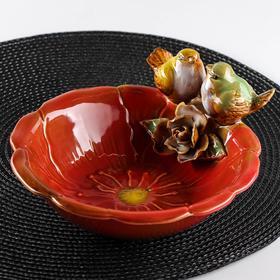 Блюдо сервировочное «Соловушки», 500 мл, d=18 см, цвет красный