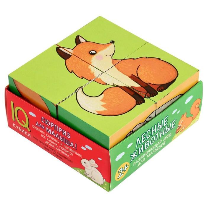 Кубики 4 шт. Лесные животные