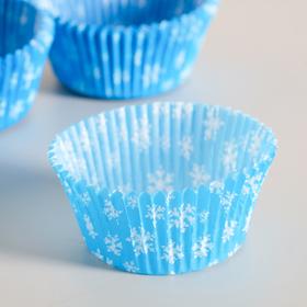 Форма для выпечки голубая со снежинками, 5 х 3 см Ош