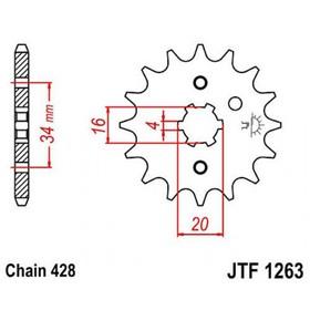 Звезда передняя, ведущая, JTF1263 для мотоцикла, стальная Ош
