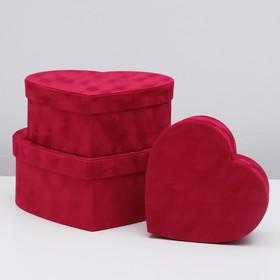 Набор коробок 3 в 1 сердце, красный  30,5 х 27,5 х 12 - 22 х 21 х 8,5 см