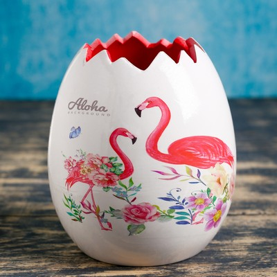 """Кашпо керамическое """"Фламинго"""" 12*12*13 см"""