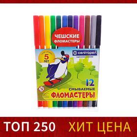 Фломастеры 12 цветов, Centropen 7790/12 Пингвины, пластиковый конверт