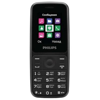 """Мобильный телефон Philips E125 Xenium, 2Sim, 1.77"""", 0.1Mpix, microSD, черный"""