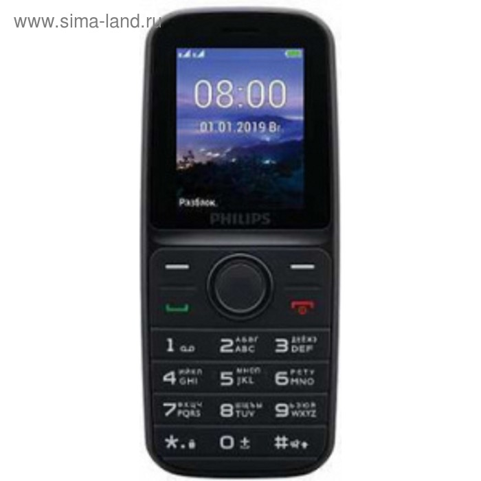 """Мобильный телефон Philips E109 Xenium, 2Sim, 1.77"""", microSD, черный"""
