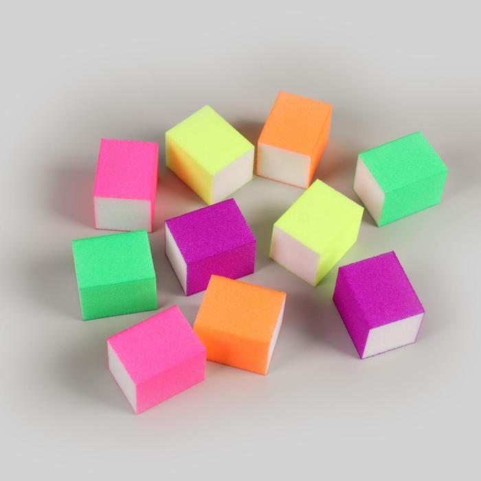 Бафы наждачные для ногтей, четырёхсторонние, 10 шт, 3,5 × 2,5 × 2,5 см, цвет разноцветные