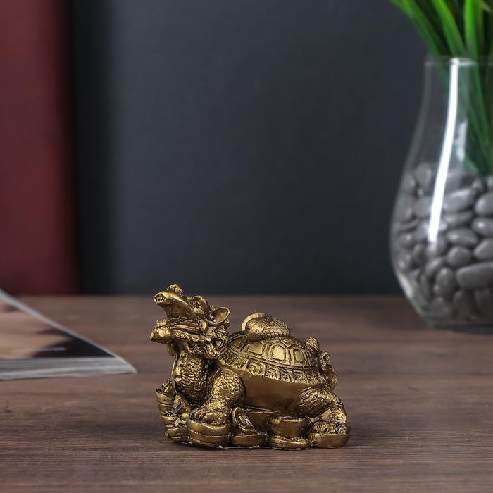 Нэцке полистоун бронза Драконочерепаха на монетах со слитком на панцире 6,5х9х6 см
