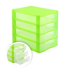 Файл-кабинет 4-секционный СТАММ, зеленый корп, прозрач УБ35 Ош