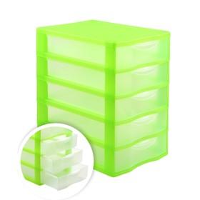 Файл-кабинет 5-секционный СТАММ, зеленый корп, прозрач УБ45 Ош