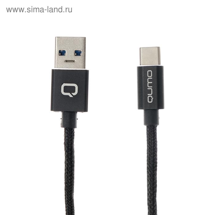 Кабель Qumo, USB - Type C, 3 A, 1 м, круглый, черный, до 18Вт.