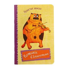 Блокнот А6, 32 листа «Котики в блокнотике. Пушистые записки. Скрипка», картонная обложка