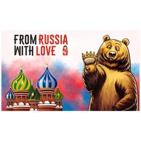 Флаг прямоугольный на липучке 'FROM RUSSIA WITH LOVE' медведь, 140х240 мм Ош