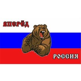 Флаг прямоугольный на липучке 'Вперед Россия!' медведь, 140х240 мм Ош