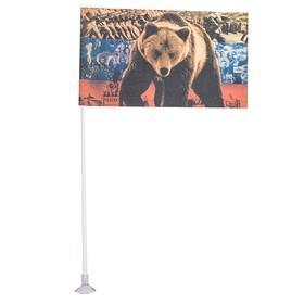 Флаг прямоугольный на присоске ' Медведь' флаг, 145х250 мм Ош