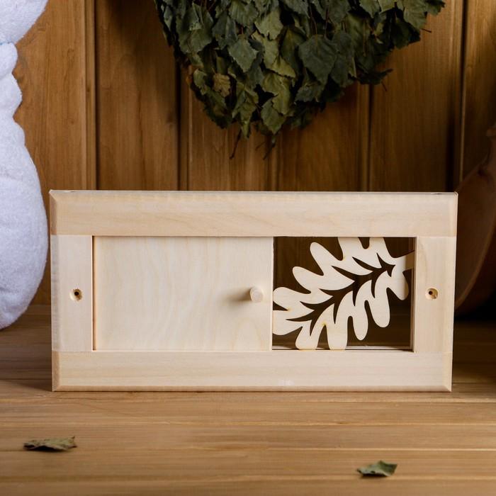 """Вентиляционная крышка из липы, """"Банный лист"""", 31×15 cм , с задвижкой"""