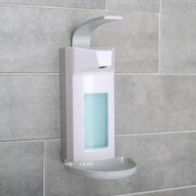 Диспенсер для антисептика/жидкого мыла локтевой, 1000 мл, пластик, цвет белый