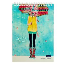 Блокнот-скетчбук А5, 40 листов на гребне «Счастливые моменты», обложка мелованный картон, блок 100 г/м², с пошаговыми эскизами, жёсткая подложка Ош