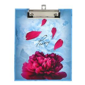 Папка-планшет А5 с металлическим зажимом «Пионов нежный аромат», ламинированный картон, матовая ламинация Ош