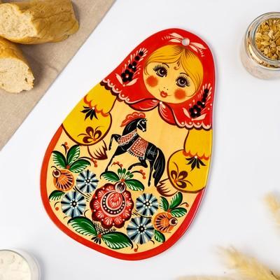Доска разделочная «Метрёшка», городецкая роспись, 18х31 см