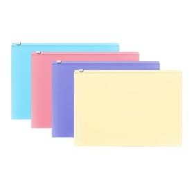 Папка-конверт на гибкой молнии ZIP, А4, пластиковая, ErichKrause Fizzy Pastel, микс