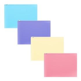 Папка-конверт на гибкой молнии ZIP, С6, ErichKrause Fizzy Pastel, пластиковая, микс