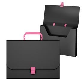 Папка-портфель 1 отделение ErichKrause 'Matt Accent', A4, 335 х 230 х 35 мм, 700 мкм, черная с розовой ручкой и замком Ош