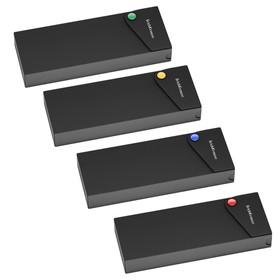 Пенал-футляр пластиковый, ErichKrause Matt Black Line, чёрный с цветной кнопкой, микс Ош