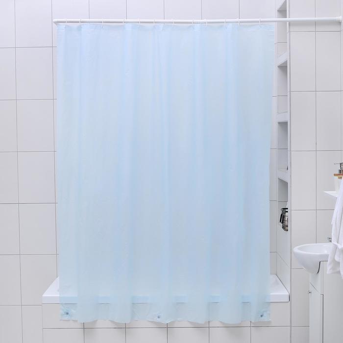 Штора для ванной комнаты Классика, 180180 см, PEVA, цвет голубой
