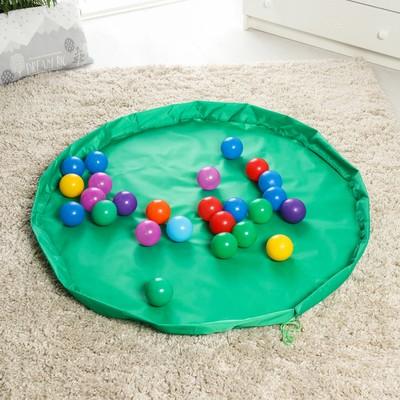 Развивающий коврик - сумка для игрушек «Котик», зеленый, d100 см, оксфорд - Фото 1