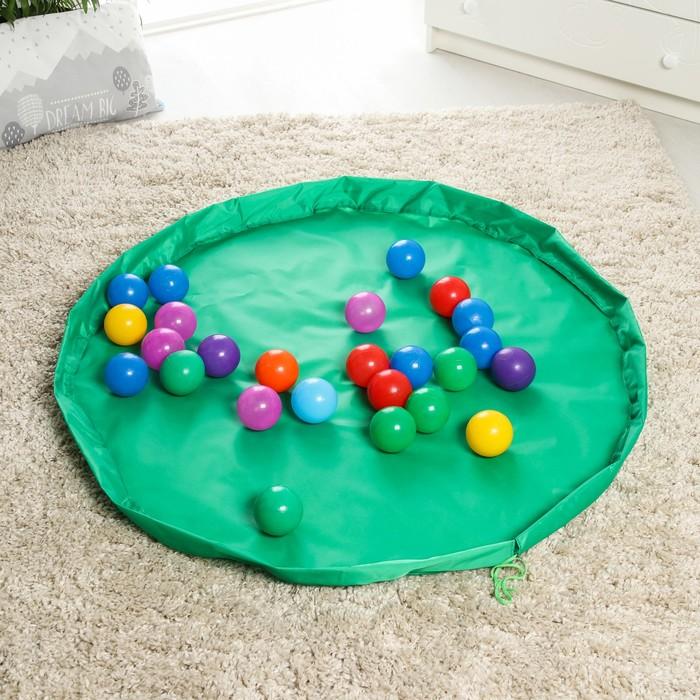 Развивающий коврик - сумка для игрушек Котик, зеленый, d100 см, оксфорд