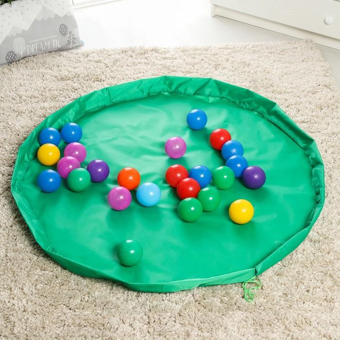 Развивающий коврик - сумка для игрушек Котик, зеленый, d150 см, оксфорд