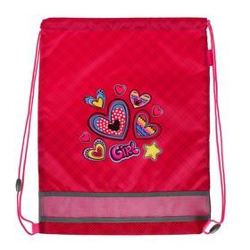 Мешок для обуви 460 х 340 мм Mag Taller EVO, Hearts, розовый (сетка для вентиляции, высокопрочный полиэстер 100%)
