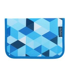 Пенал 1 секция откидные 2 планки, 140 х 205, с наполнением, ткань Herlitz, 31 предмет, Blue Cubes