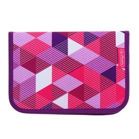 Пенал 1 секция откидные 2 планки, 140 х 205, с наполнением, ткань Herlitz, 31 предмет, Pink Cubes