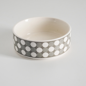 Миска керамическая 'Горошек', 10,5 х 4 см, серая Ош