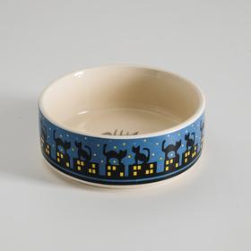Миска керамическая 'Ночные кошки', 10,5 х 4 см, синяя Ош