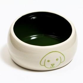 Миска керамическая со скошенным краем 'Верный пес', 10,5 х 5,6 см, бело-зеленая Ош