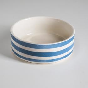 Миска керамическая 'Полоски', 10,5 х 4 см, 180 мл, синяя Ош