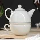 Чайник с чашкой, белый, 1 персона, 0,3 л /0,3л