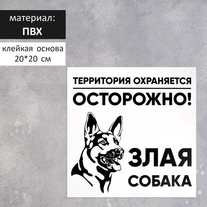 "Табличка ""ЗЛАЯ СОБАКА"" 200х200мм, ПВХ"