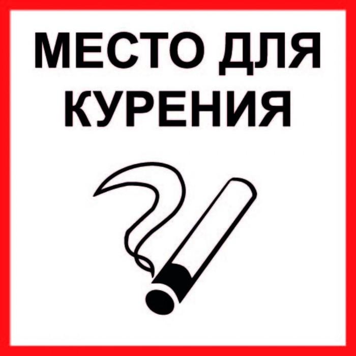 """Табличка """"МЕСТО ДЛЯ КУРЕНИЯ"""" 100х100мм, ПВХ"""