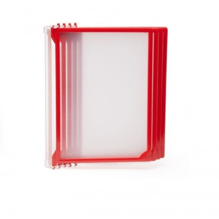 Настенная перекидная система, 5 рамок А4, цвет красный