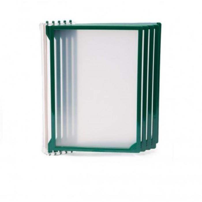 Настенная перекидная система, 5 рамок А4, цвет зелёный