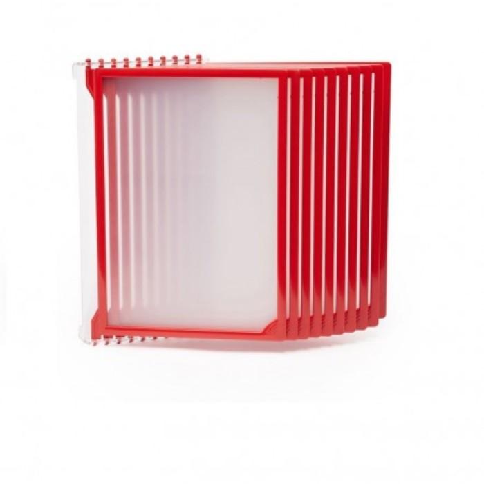 Настенная перекидная система, 10 рамок А4, цвет красный