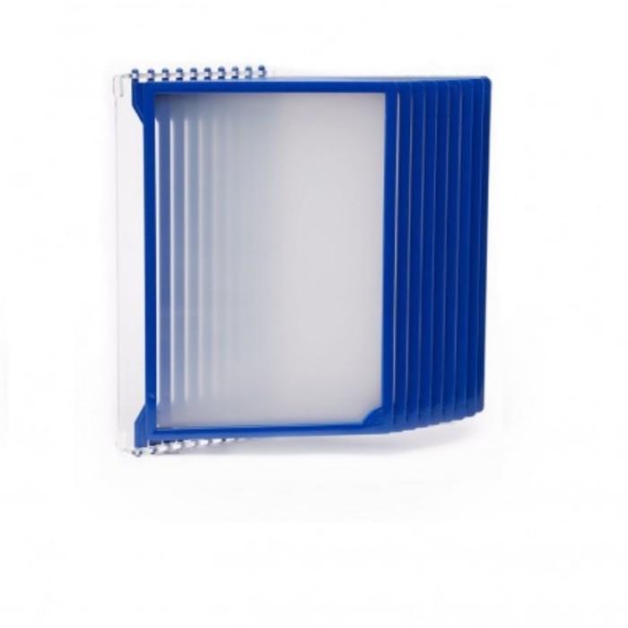 Настенная перекидная система, 10 рамок А4, цвет синий
