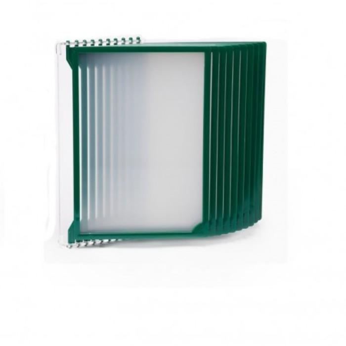 Настенная перекидная система, 10 рамок А4, цвет зелёный