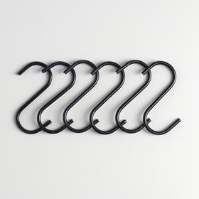 Набор крючков для рейлинга Доляна, d=2,2 см, 7 см, 6 шт, цвет чёрный Ош
