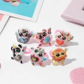 Кольцо детское 'Выбражулька' весёлые зверюшки, форма МИКС, цветное Ош