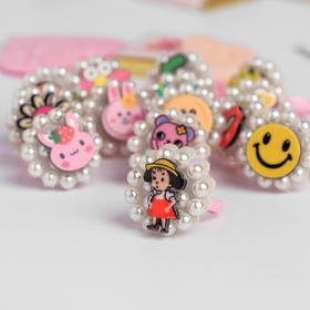 Кольцо детское 'Выбражулька' персонажи в бусинах, форма МИКС, цветное Ош